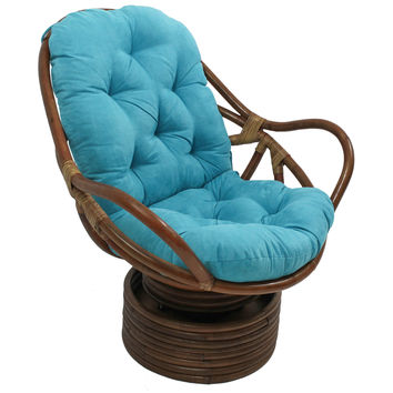 Rattan Swivel Rocker with Solid Micro Suede Cushion