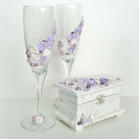 Hand Decorated Personalized Wedding Anniversary Champagne Glasses Toasting Flutes Lavender White Polymer Clay Flowers by Elena Joliefleur