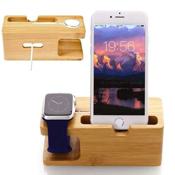 Bamboo Dock Charging Station Charger Holder Stand Fit Apple Watch iWatch iPhone