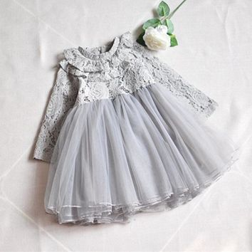 2018 Spring Lace Turtleneck Girl Clothes Kids Dresses For Girls Wedding Baby Girls Kids Party Costumes Ball Gown grey pink 3-7T