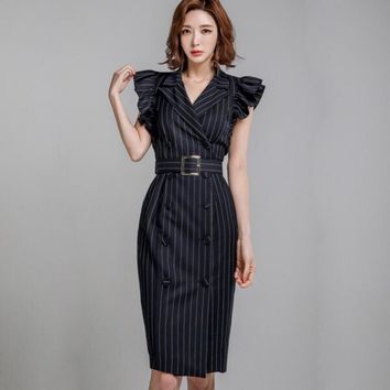 HCXX 19July 702 Valentino British style dress suit collar double-breasted striped Slim professional jacket dress