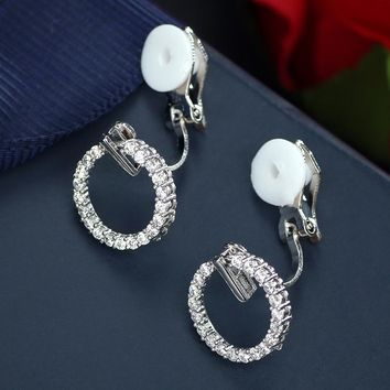 Simple Fashion Small Round Circle Earrings Crystal Cubic Zircon Ear Clips on Earrings Without Piercing No Ear Hole Ear Cuff