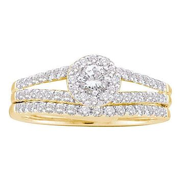 14kt Yellow Gold Women's Round Diamond Split-shank Bridal Wedding Engagement Ring Band Set 5/8 Cttw - FREE Shipping (US/CAN)