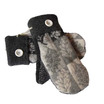 Upcycled Wool Sweater Mittens SWEATY MITTS Women's Recycled Handmade in Wisconsin Black Gray White Grey 100% Wool Leaf Pattern
