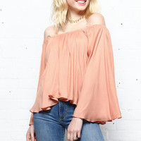 On The Fly Flutter Sleeve Top - Dusty Peach