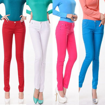 Fashion Women Sexy Candy Color Pencil Pants/Casual pants/Skinny Pants Trousers Fit Lady Jeans 7_S = 1914123780