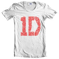 One Direction 1D Love White Women T-Shirt size S to 2XL tee