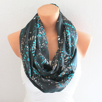 Infinity Scarf Loop Scarf Circle Scarf Cowl Scarf Petroil Green