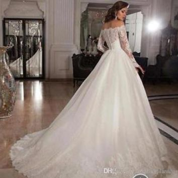 Long Sleeve Sexy White/Ivory Wedding Dress Bridal Gown 2015 Custom Size 2 4 6 8+