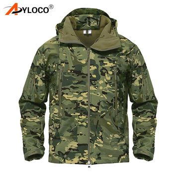 Winter Shark Skin Soft Shell Jackets Army Camouflage Coat Military Tactical Jacket Men Waterproof Windbreaker Tactical Clothes