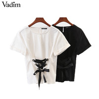 Vadim women sweet lace up shirt short sleeve o neck black white blouse ladies casual fashion streetwear tops blusas DT1082