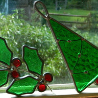 Pair of Vintage Stained Glass Christmas Ornaments or Suncatchers - Double Holly and Christmas Tree