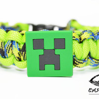 Mine Craft Bracelet, Creeper Bracelet, Mine Craft Jewelry, Creeper Jewelry, Custom Mine Craft Bracelet, Mine Craft Paracord Bracelet