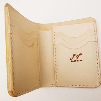 Vegetable leather mans wallet white stitching