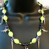 Dino Dash Purple Green Yellow Silver Spike Necklace Fun Party Cosplay Fashion Jewelry