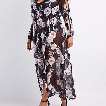 Plus Size Floral Mesh Maxi Wrap Dress