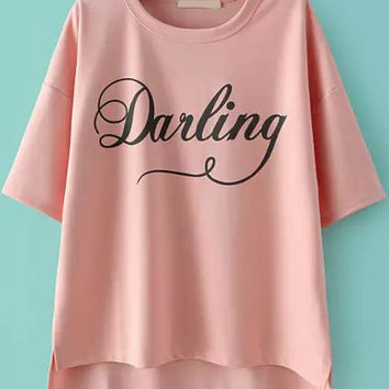 Darling Graphic Printed Dip Hem Pink T-Shirt