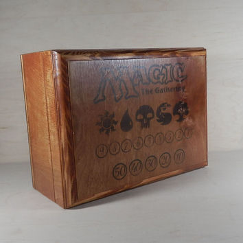 Magic Deck Box holds 9 Decks Wood Deck Box, Card Case, for Magic the Gathering, MTG, Pokemon, Yugioh