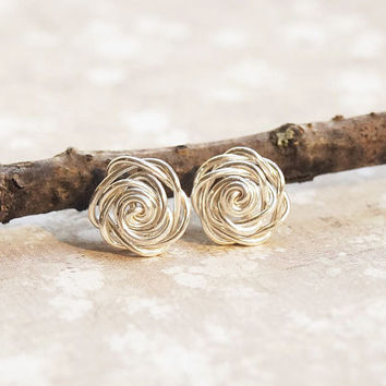 Small Rose Studs Sterling Silver Earrings, Silver Wire Rose, WireWrapped Jewelry, Simple Earrings, Sterling Silver