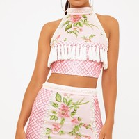 Premium Blush Embroidered Lace Crop Top
