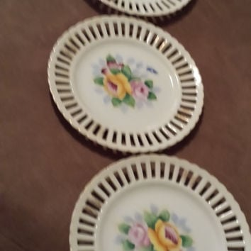 Occupied Japan Floral Rose Plates, Made in Occupied Japan, Vintage antiques