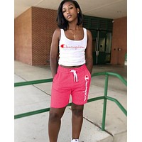 Champion Hot Sale Woman Casual Print Sleeveless Vest Top Shorts Set Sport Two Piece Pink