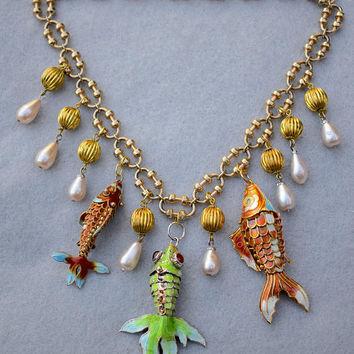 Chinese Koi Charms Necklace with Vintage Components