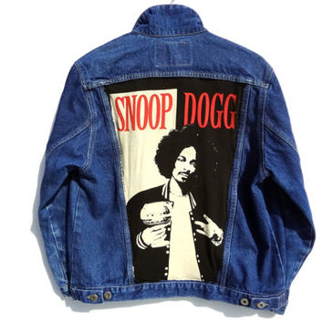 Handmade Snoop Dogg Denim Jacket - Guess Jacket - Large -