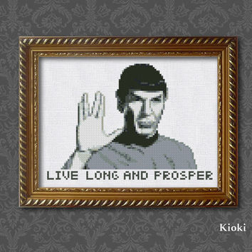 Cross Stitch Pattern Mr Spock Instant Download PDF Chart