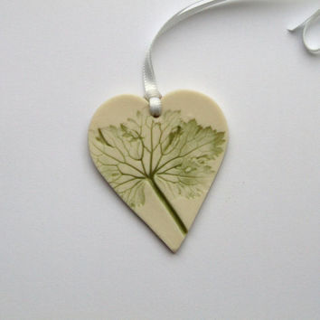Porcelain Heart Hanging Decoration with Green Leaf - Easter Gift Idea