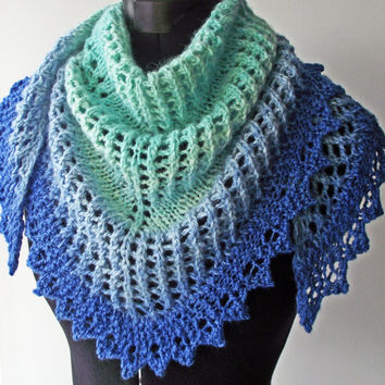 Blue Gradient Shawl, Artisan Handdyed Handspun, Unique Lacy Shawlette, Blue & Turquoise Bluefaced Leicester Kerchief, Knit Neckerchief