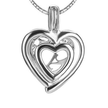 Romantic Love Heart Shaped Charms 925 Sterling Silver Pearl Cage Pendant