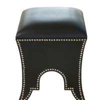 Black Leather Moroccan Pouf - Gilt Home