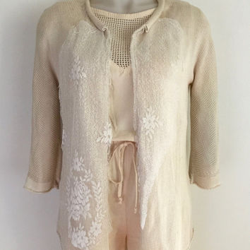 YOHJI YAMAMOTO!!! Vintage 1990s 'Yohji Yamamoto' cream silk knitted cardigan with asymmetric lace trimmed lapels / Made in Japan