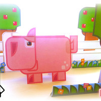 Printable paper toy craft activity. Instant download. Flat Ed Farm Pig! Make you own cards, banners and piggy bunting!