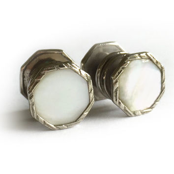 1920's Art Deco Snap Cufflinks / Correct Links / Snap Links / Mother of Pearl MOP Cufflinks / Vintage Snap Cuff Links
