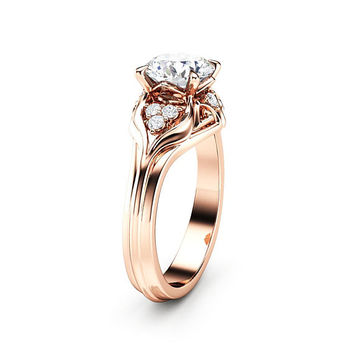 Unique Engagement Ring 1.28 Carat Forever One Moissanite Engagement Ring 14K Rose Gold Ring