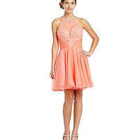 MAC by Mac Duggal Illusion Halter Neckline Short Dress - Neon Coral