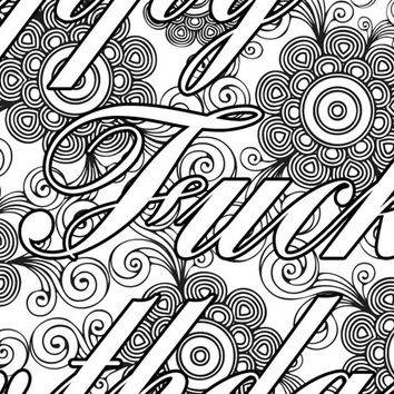 "Happy F*cking Coloring Page The swearing words ""Happy F*cking Birthday"" - 2 background white and black - naughty"