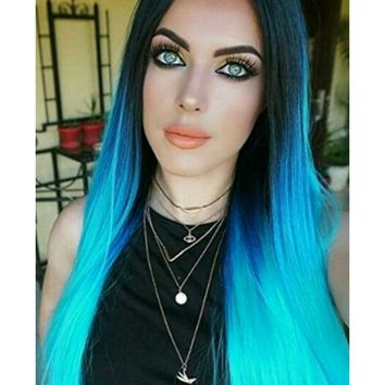 Black Blue Green Ombre Lace Front Wig