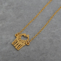 Tiny Gold Plated Kissing Giraffes Necklace