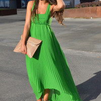Green Pleated Chiffon Sleeveless Square Neck A-line Maxi Dress