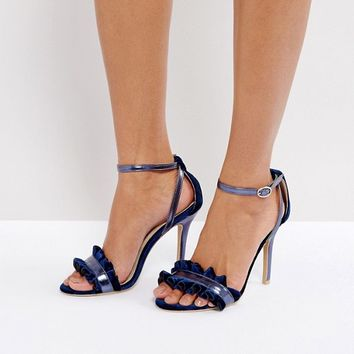 True Decadence Frill Navy Barely There Heeled Sandals at asos.com