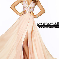 Long V-neck Mori Lee Prom Dress