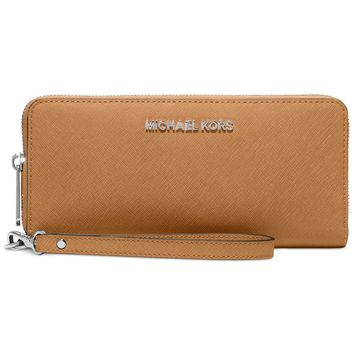 MICHAEL KORS LEATHER JET SET TRAVEL CONTINENTAL WALLET WRISTLET NEW