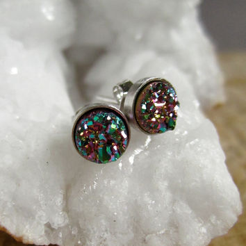 Tiny Druzy Earrings Peacock Drusy Quartz Studs Rhodium Plated Sterling Silver Setting