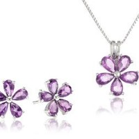 Sterling Silver Amethyst Flower Studs and Pendant Box Set (2.40 cttw): Jewelry: Amazon.com