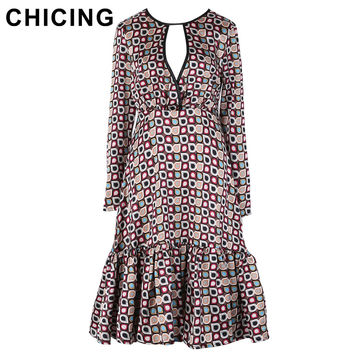 CHICING Women Vintage Chiffon Hollow Out Floral Printed Fish Tail Dress 2017 Spring New Boho Ethnic Dresses vestidos A1612034