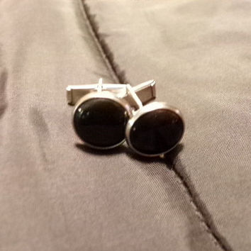 Vintage Black Cuff links, gift for him, grooms gift, Enamel and silver tone cuff links