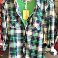 Country Backwoods Flannel - Green/Navy